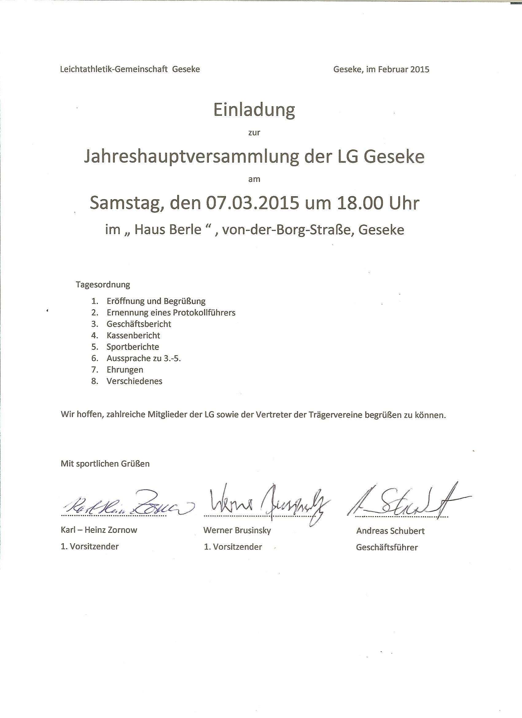 Einladung Jahreshauptversammlung LG Geseke 2015